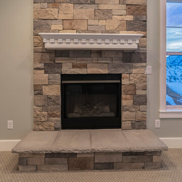 Square crop Fire insert in a feature stone brick wall