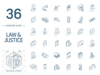 Isometric line art icon set. Vector illustration with justice, law symbols. Legal, court, judge, crime, police, prison, gavel and scale pictogram. 3d technical drawing. Editable stroke