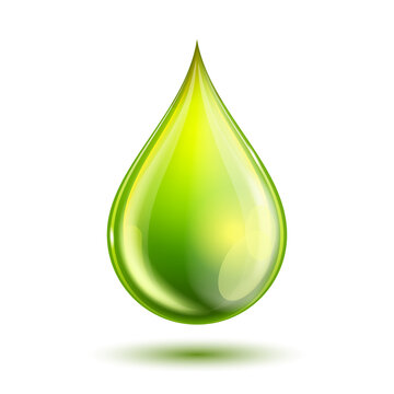 Green glossy drop isolated on white. Biofuel concept