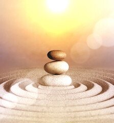 Foto op Canvas Zen Japanese zen garden meditation stone, concentration and relaxation sand and rock for harmony and balance