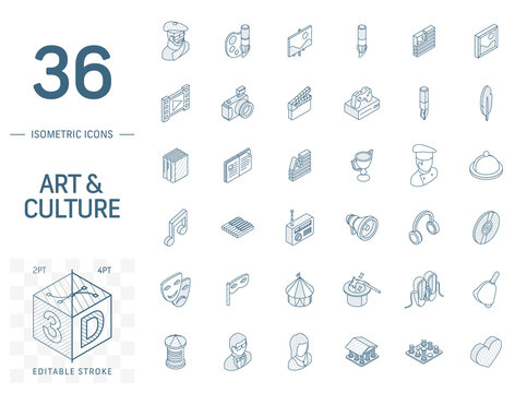 Isometric line art icon set. Vector illustration with culture, art, literature symbols. Artist palette, theatre, cinema and music, circus, magic pictogram. 3d technical drawing. Editable stroke