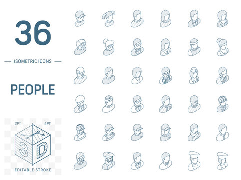 Isometric line art icon set. Vector illustration with people avatars symbols. Social media user profile, manager, doctor, cook profession, old man, artist pictogram. 3d technical draw. Editable stroke