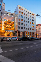 vienna, austria - OCT 17, 2019: modern architecture of old town at dusk. beautiful scenery in Weissgerber area.