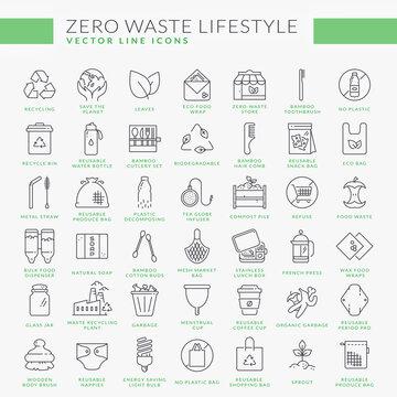 Zero waste line icons isolated on white background. Vector set.