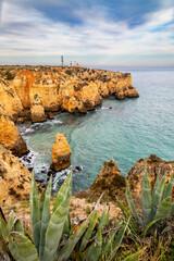 Rock formations at Ponta da Piedade near Lagos at the southern coast of the Algarve, Portugal.