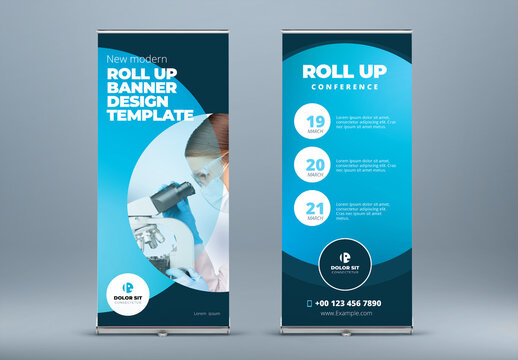 Blue Roll Up Layout with Gradient Circles