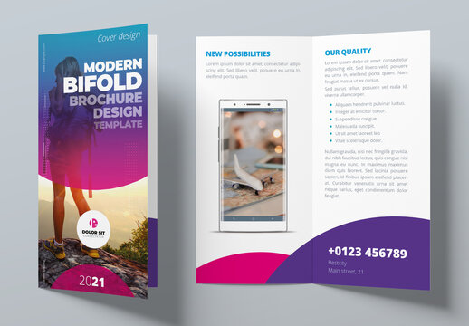 Purple, Pink and Blue Gradient Bifold Brochure Layout with Circles