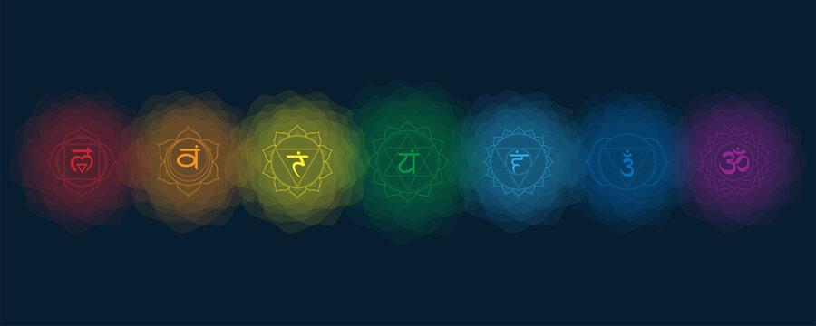 Chakras set: muladhara, swadhisthana, manipura, anahata, vishuddha, ajna, sahasrara. Vector line symbol. Icon with rounded circle smoke aura. EPS 10 Vector illustration.