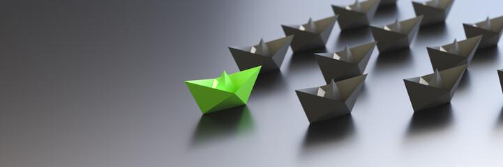 Leadership, success, and teamwork concept, green leader boat leading black boats. 3D Rendering.