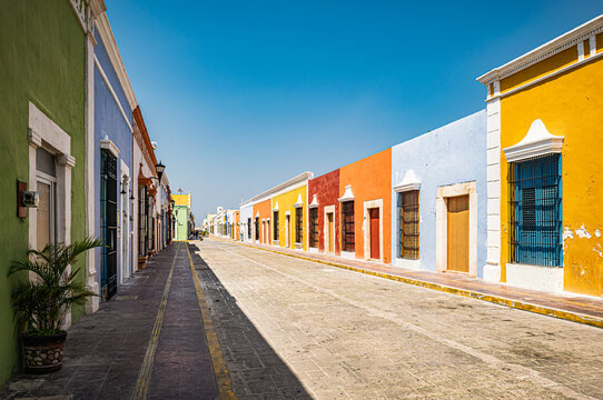 Campeche street view. Brightly painted facades of colonial houses in Campeche, Yucatan, Mexico.