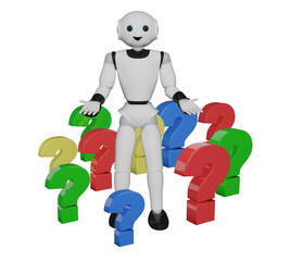 humanoider roboter steht in bunten Fragezeichen. 3d rendering