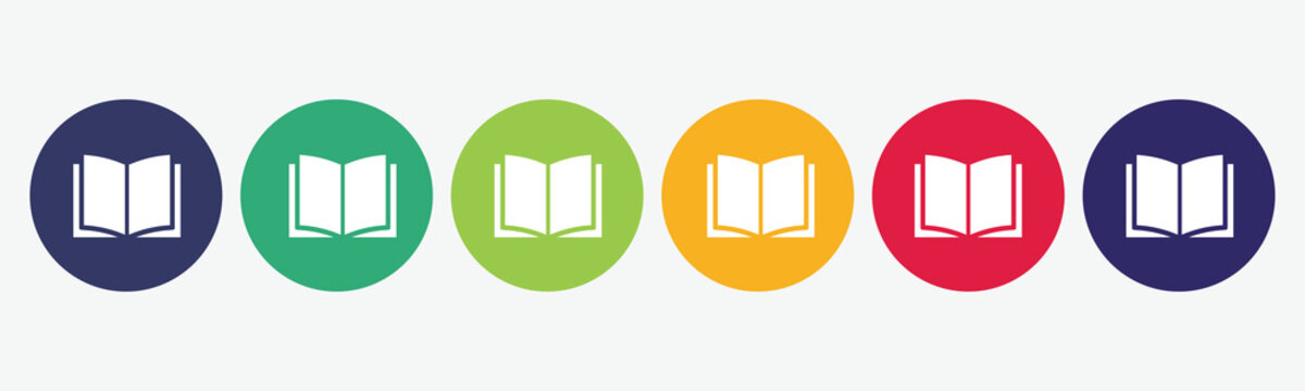 Book flat icon set.