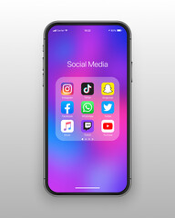 Vector Social Media Network Icons On IPhone Screen With Colorful Wallpaper On White Background. Instagram, TikTok, Snapchat, Facebook, WhatsApp, Twitter, ITunes, Twitch, YouTube Apps Set IOs Folder