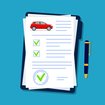 Car insurance document in flat style. Licence vehicle checklist in folder. Security agreement for automobile company. Transport report form with checkmark. Finance contract of auto. vector.