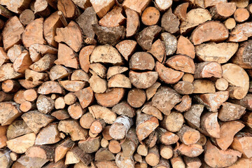Poster Firewood texture Large rural stack of firewood. Old firewood. Background.