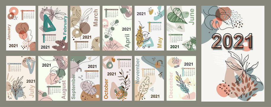 Monthly wall 2021 calendar floral line art vector leaves background,