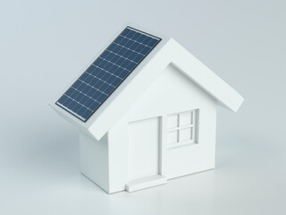 House with photovoltaic solar panel on white background - 3d illustration