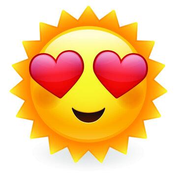 Love Sun Emoji Eyes. Summer Vacations. Illustration Face Vector Design Art.