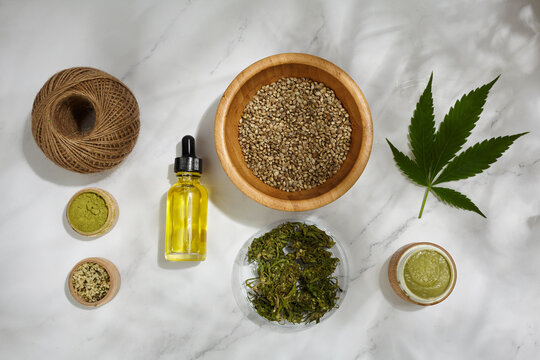 Flat lay composition from hemp, cannabis products. Cosmetic and drink. Top view