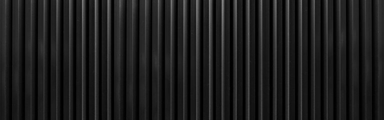 Panorama of Black Corrugated metal background and texture surface or galvanize steel.