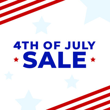 4th of July Celebration Holiday Sale Typography with Patriotic Stars and Stripes Background Texture, United States Independence Day Vector Graphic Illustration Web Template Square Banner Ad