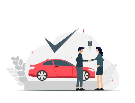 Car Seller Deal buying and sell Flat Illustration