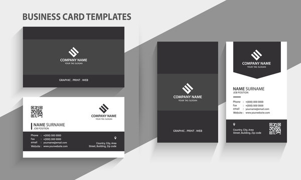 Double-sided Creative and Modern Business Card template. Portrait and landscape orientation. Horizontal and vertical layout. Stationery Design, Print Template, Vector illustration