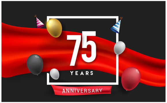 75th years Anniversary celebration logo, isolated on red ribbon and balloon, vector elements for banner, invitation card and birthday party.