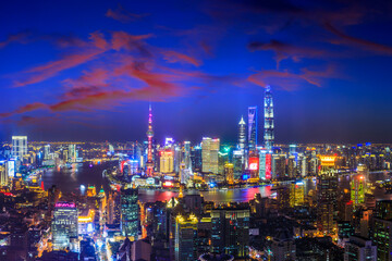 Poster Prune Beautiful Shanghai skyline and city buildings at night,China.High angle view.