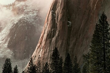 Mountain and forest in Yosemite Valley, 4K, HD, advertisement, holiday, Travel, hike, outdoors, winter, snow, wallpaper, desktop, background, copypaste, mockup, UHD