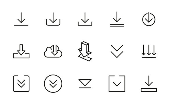 Set of download icons in modern thin line style.