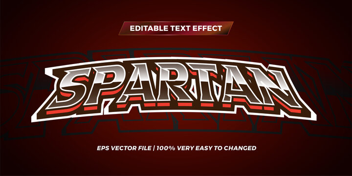Editable text effect - Spartan text style mockup logo sport concept maroon color background