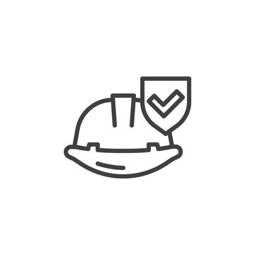 Work insurance line icon. linear style sign for mobile concept and web design. Hard hat with protection shield outline vector icon. Safety symbol, logo illustration. Vector graphics
