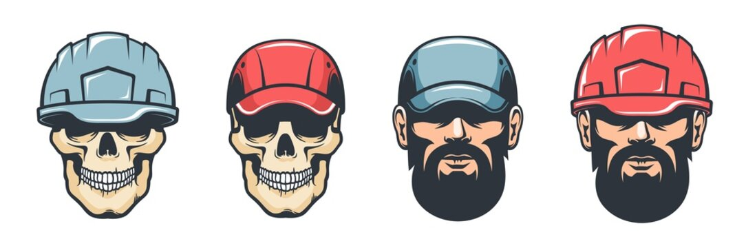 Worker head in helmet - retro style. Skull mechanic in cap. Vector vintage illustration