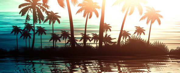 Empty tropical background of night sea beach. Silhouettes of tropical palm trees on a background of bright sunset. 3d illustration Wall mural