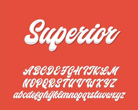 Superior lettering script design. Vector alphabet.