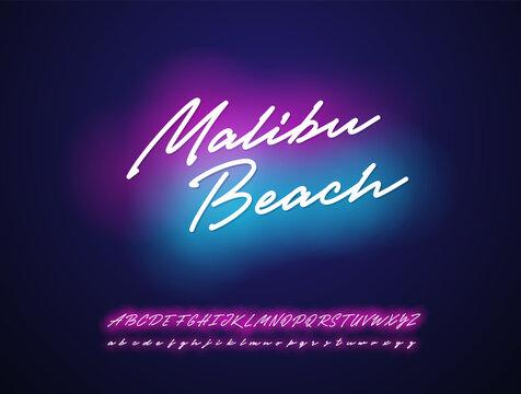 Malibu beach neon script design. Vector  alphabet.