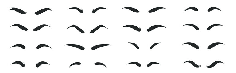 Eyebrows shapes Set. Eyebrow shapes. Various types of eyebrows. Eyebrow shaping for women. Classic type and different thickness of brows.