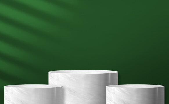 marble cylinder podium product display at green background and sunlight