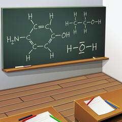 Salle de classe d'un cours de chimie