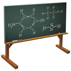 Tableau noir et cours de chimie (détouré)