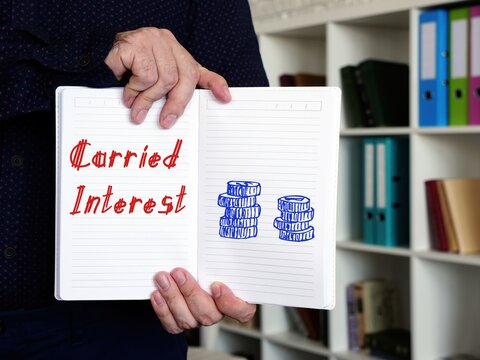 Financial concept about Carried Interest with sign on the page.