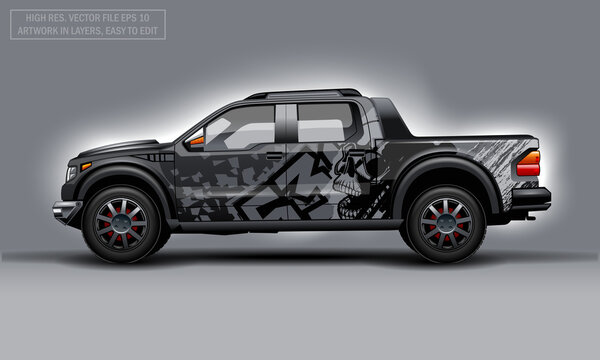 Editable template for wrap SUV with Skull abstract decal. Hi-res vector graphics.