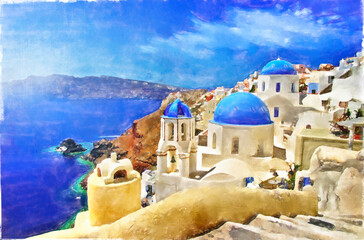 Greece. Iconic Santorini - view of caldera with blue domes.  Artistic painting style