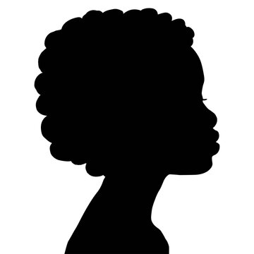 Vector  silhouette of black woman with afro hair. Stop racism. Black lives matter