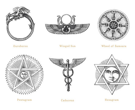 Drawn sketches of mystical symbols. Set of vector illustrations. Vintage pastiche of esoteric and occult signs.
