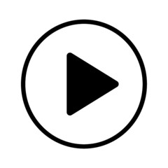video play button icon black line vector illustration