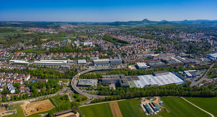 Aerial view of the city Göppingen in spring during the coronavirus lockdown.