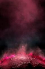 Fototapeten Hochrote Empty futuristic dramatic scene. Abstract dark landscape, street. Neon light fluid element. Night view, neon blue light. Fantasy background. 3D illustration