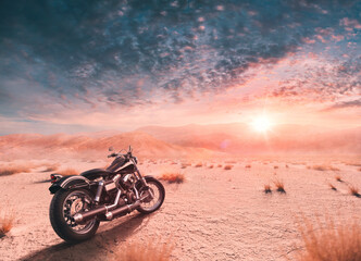 Enjoy the freedom with your harley davidson bike in the calm desert at sunset